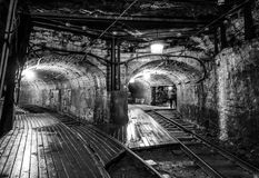 Unused mining with train tracks Stock Images