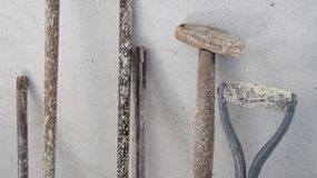 Unused and moulded garden tools. royalty free stock photo