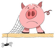 Unused piggy bank with cobweb and spider Royalty Free Stock Photos