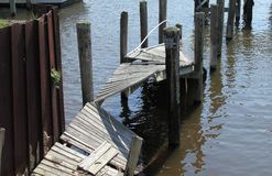 Unused ruined pier in Florida stock photography