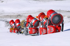 Unused snow cannons Stock Photo
