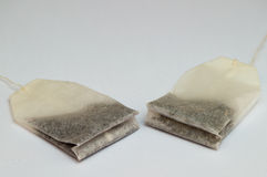 Unused tea bags in lateral view Royalty Free Stock Photos