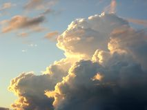 Unusial cloud. Golden light. Royalty Free Stock Images