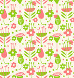 Unusial seamless floral pattern. Decorative doodle background with stylized flowers and leaves Stock Photos