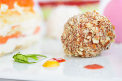 Unusiual nut ball with salmon sauce Stock Photos