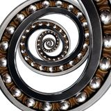 Unusual abstract fractal ellipse spiral Industrial Ball Bearing. Spiral ellipse fractal effect of bearing manufacturing technology. Abstract fractal background royalty free stock photos