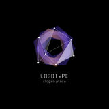 Unusual abstract geometric shapes vector logo. Circular, polygonal colorful logotypes on the black background. Stock Images