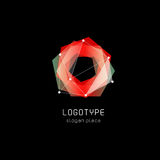 Unusual abstract geometric shapes vector logo. Circular, polygonal colorful logotypes on the black background. Royalty Free Stock Photography