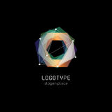 Unusual abstract geometric shapes vector logo. Circular, polygonal colorful logotypes on the black background. Royalty Free Stock Image
