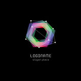 Unusual abstract geometric shapes vector logo. Circular, polygonal colorful logotypes on the black background. Royalty Free Stock Photo