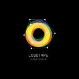 Unusual abstract geometric shapes vector logo. Circular, polygonal colorful logotypes on the black background. Stock Photo