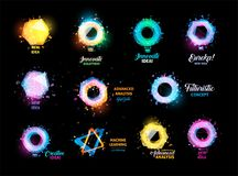 Unusual abstract geometric shapes vector logo set. Circular, hexagon, polygonal colorful logotypes collection on the Stock Photography