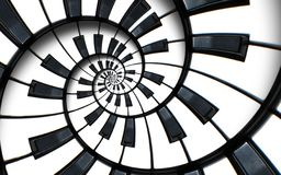 Unusual abstract piano keyboard spiral background fractal like endless staircase. Black and white piano keys screwed into round s vector illustration