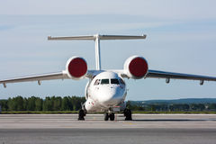 Unusual aircraft on the apron. Unusual aircraft on the summer apron stock photography
