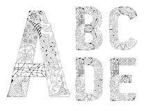 Unusual alphabet doodle style letters on a white background. Hand-painted art design. Black and white hand drawn illustration alphabet. Part 1 Stock Photography