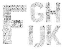 Unusual alphabet doodle style letters on a white background. Hand-painted art design. Black and white hand drawn illustration alphabet. Part 2 Stock Photography