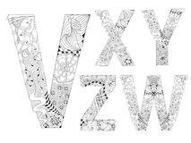 Unusual alphabet doodle style letters on a white background. Hand-painted art design. Black and white hand drawn illustration alphabet. Part 5 Stock Photography