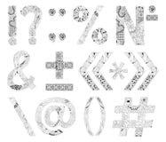 Unusual alphabet doodle style punctuation marks on a white background Royalty Free Stock Image