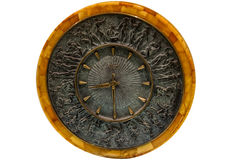 Unusual amber clock. On a white background Royalty Free Stock Image