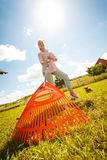 Unusual angle of woman raking leaves. Using rake. Person taking care of garden house yard grass. Agricultural, gardening equipment concept stock photos