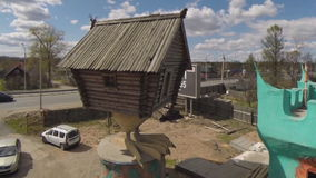 Unusual architecture. A house made of wood stock footage