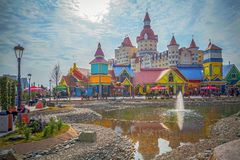 SOCHI, RUSSIA - FEBRUARY 21, 2014: Pond in Sochi Park Royalty Free Stock Photo