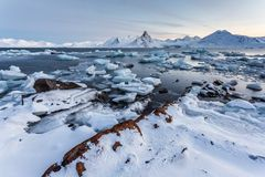 Unusual Arctic ice world - Spitsbergen, Svalbard Stock Photos