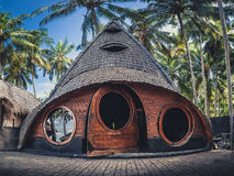 Unusual Bamboo House from natural bamboo tree on the tropical island Bali Stock Images