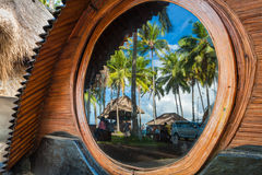 Unusual Bamboo House from natural bamboo tree on the tropical island Bali Royalty Free Stock Photos
