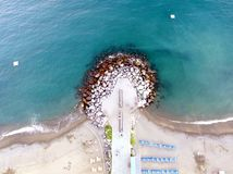 Unusual beach perspective. An aerial view of a beach in italy Royalty Free Stock Photos