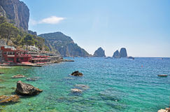 Unusual beach with turquoise waters on the island of Capri Stock Photography