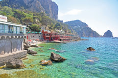 Unusual beach with turquoise waters on the island of Capri Stock Image