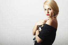 Unusual Beautiful Blond Woman.Red Sexy Lips Royalty Free Stock Photos