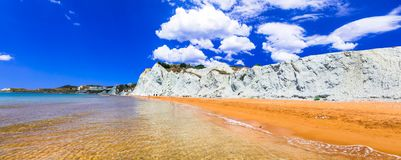 Unusual beautiful Xi beach with orange sands in Kefalonia island Royalty Free Stock Photo