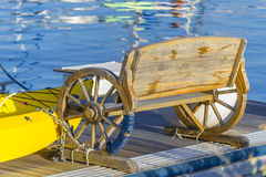 Unusual bench along a pier in Sardinia Italy. Stock Photos