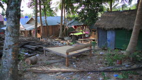 Unusual Billard table on cambodian slums. Day time stock video footage