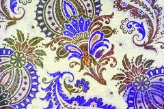 Unusual botanic paisley pattern. An ornate and very elaborate pattern of flowers and leaves Stock Photo