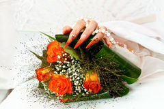 Unusual bridal nails Royalty Free Stock Photography