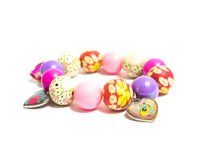 Unusual bright beads children's bracelet Stock Photo