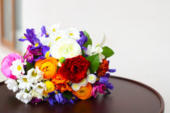 Unusual bright wedding bouquet with ranunculus Stock Image