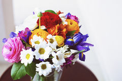 Unusual bright wedding bouquet with ranunculus Royalty Free Stock Images