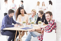 Unusual business meeting Stock Images