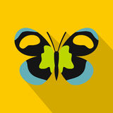 Unusual butterfly icon, flat style Royalty Free Stock Images