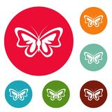 Unusual butterfly icons circle set. Isolated on white background royalty free illustration