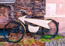 Unusual cafe signboard on bicycle. Signboard shop or restaurant Royalty Free Stock Photos