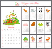 Unusual calendar for 2016 with cartoon and funny animals Royalty Free Stock Photo