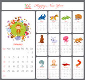 Unusual calendar for 2016 with cartoon and funny animals.  Vector Illustration