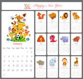 Unusual calendar for 2016 with cartoon and funny animals Stock Images
