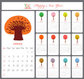 Unusual calendar for 2016 with season trees.  Royalty Free Illustration