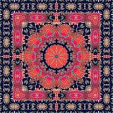 Unusual carpet with ornamental border. Tablecloth. Shawl. Bandana. Unusual carpet with ornamental border. Lovely tablecloth. Shawl. Bandana print in boho style vector illustration